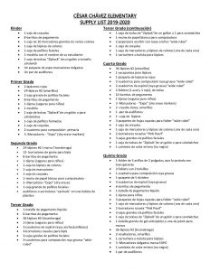 Supply List Spanish